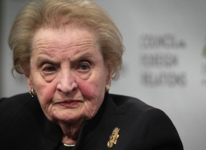 "WASHINGTON, DC - JANUARY 29:  Former U.S. Secretary of State Madeleine Albright participates in a discussion at the Council on Foreign Relations January 29, 2015 in Washington,  DC. The Council on Foreign Relations and the Paulson Institute held the discussion on ""The China Challenge: Balancing Cooperation and Competition.""  (Photo by Alex Wong/Getty Images)"