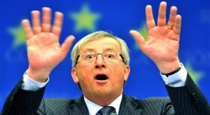 "Luxembourg Prime Minister and Eurogroup president Jean-Claude Juncker gestures on Febuary 15, 2010 during the final press conference of an Eurogroup meeting at the EU headquarters in Brussels. Greece's eurozone partners agreed that it would be ""unwise"" to go public with the detail behind moves to offer Athens bailout aid over its bulging debt hangover. ""We did not want to go public today with the measures we are putting in place, because we don't think it would be wise to discuss publicly the instruments"" being prepared, said eurozone chief Jean-Claude Juncker. AFP PHOTO /GEORGES GOBET"