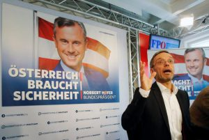 "Austrian Freedom Party (FPOe) Secretary General Herbert Kickl presents campaign posters of FPOe candidate Norbert Hofer for a re-run of the run-off presidential election in Vienna, Austria August 24, 2016. Poster reads ""Austria needs safety"". REUTERS/Heinz-Peter Bader"
