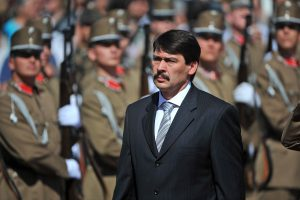New Hungarian President Janos Ader inspects honor guards during his ceremonial inauguration at the presidential Alexander Palace in Budapest, Hungary, Thursday, May 10, 2012. (AP Photo/MTI, Tamas Kovacs)
