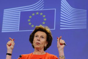 Europe's Digital Agenda commissioner Neelie Kroes talks on the New lower roaming rates coming into effect on July 1 during a press conference at the EU headquarters in Brussels on June 30, 2014. AFP PHOTO /JOHN THYS        (Photo credit should read JOHN THYS/AFP/Getty Images)